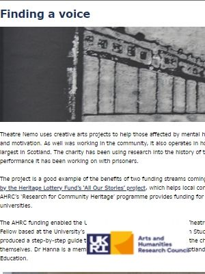 Link to article on Theatre Nemo, which runs creative arts sessions in prisons