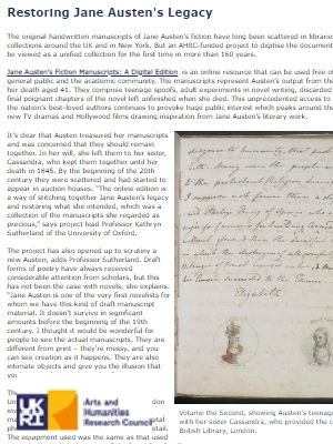 Link to article on the digitising of Jane Austen's manuscrips